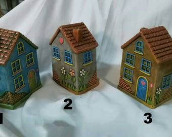 Embossed Ceramic house figure bibelot, decorative