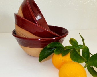 Country Brick Red Ceramic Bowl Set, Rustic Nesting Bowls