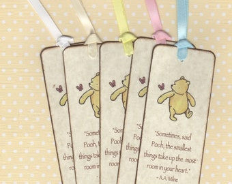 Winnie The Pooh Baby Shower Bookmark Favors, Birthday Party Bookmark Favors, Gender Neutral - Rustic Vintage Style Set of 10,