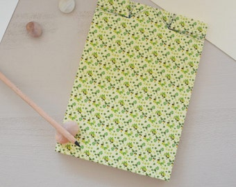 Japanese handbound notebook printed with a green vegetal pattern, Landscape, choose your paper, for drawing or writing