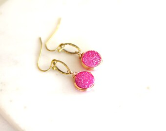 Hot pink Druzy Earrings fuchsia drops pink and gold gift for her under 45 mothers day VitrineDesigns
