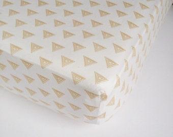 Geometric Baby Sheet - Metallic Gold Nursery / Gold Crib Sheet /Gender Neutral Gold Baby Bedding / Mini Crib Sheets / Changing Pad Cover