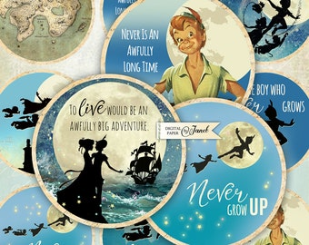 Peter Pan - Neverland - quote - 2.5 inch circles - set of 12 - digital collage sheet - pocket mirrors, tags, scrapbooking, cupcake toppers