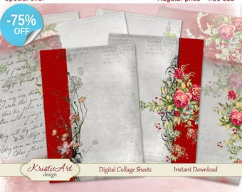 75% OFF SALE Digital Collage Sheet Elegy - Digital cards C052 ATC Cards Printable tags digital image paper craft cardmaking scrapbook