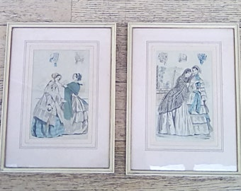 Vintage Pair French 19th Century Framed Illustrations/Engravings Vintage Fashion Millinery Hats Bonnets