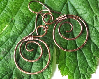 Copper spiral earrings - copper wire wrapped hoops