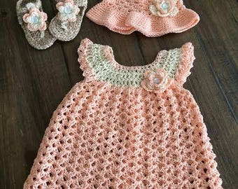 "Crochet Baby Dress ""Peaches and Cream"""