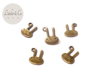 20 charms 12x10mm brass Bunny rabbit / animal-53