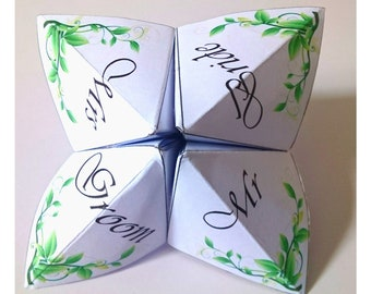 Wedding Table Party Whte Card Green Leaves Origami Game 5 Pack
