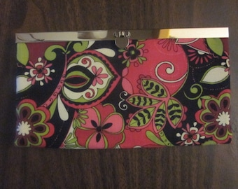 WALLET/CLUTCH - Black/pink/green floral