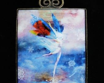 SALE-Snow Faerie Art Pendant Necklace-was 65