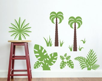 Dinosaur Jungle Plant Pack Wall Decal Fern, Palm Trees, Grass, Elephant Ear Leaves, Tropical Wild Plant Wall Stickers (LARGE PACK)