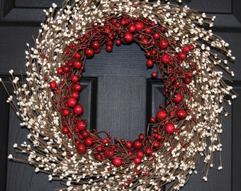 Valentine Wreath - Berry Wreath - Holiday Wreath