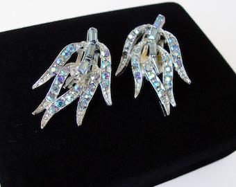 Dodds Vintage Rhinestone Leaf Earrings, Vintage Formal Earrings, Holiday Jewelry