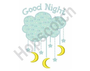 Clouds And Moon - Machine Embroidery Design