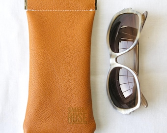 Repurposed Leather Glasses Case / Upcycled Leather Glasses Case / Orange and Stripes Pinch Frame glasses pouch