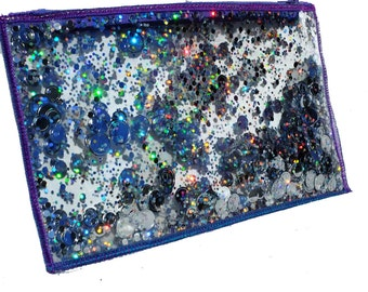 Holographic Glitter Bag Cool Pencil Case Clear Makeup Pouch Travel Cosmetic Bag