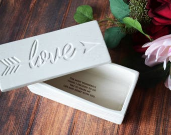 Valentine's Day Gift, Gift for Her - Love Box - SHIPS FAST - Ceramic Wood Grain Keepsake Box - With Gift Box