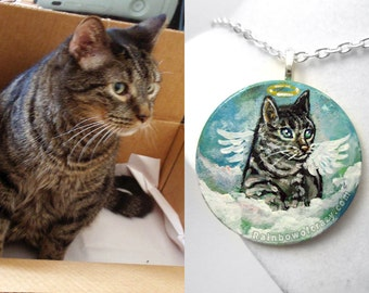Personalized Necklace, Pet Angel, Hand Painted Wood Jewelry, Circle Pendant, Unique Gift for her, Cat Art, Dog Owner, Bunny Rabbit, Custom