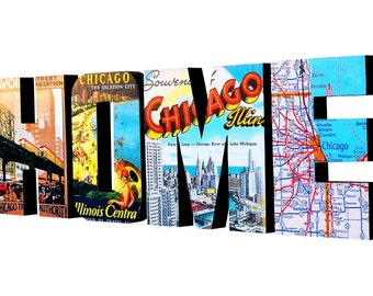 Chicago HOME Sign, Wood Sign Chicago Illinois Art, Chicago Decor Sign, Wood Letters, Wall Sign, Map