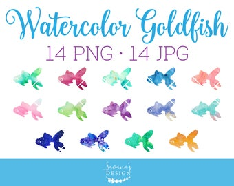 Watercolor Goldfish Clipart, Fish Clipart, Goldfish Clip Art, Fantail Goldfish, Nautical Clipart, Ocean Clipart, Sea Clipart, PNG, Download