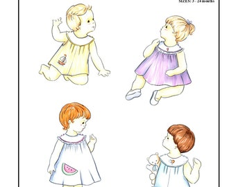 Creations by Michie' #120 - Sunsuit or Dress  - Sizes:  3 – 24 months - Sewing Pattern Instant Download Printable