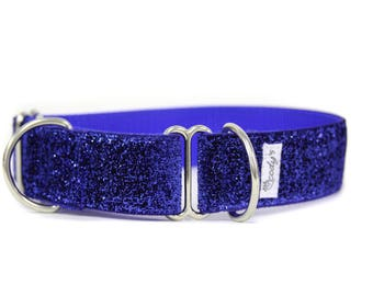 Wide 1 1/2 inch Adjustable Buckle or Martingale Dog Collar in Blue Glitter