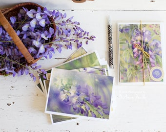 floral notecards, wisteria, boxed set of 6, photo notecards, note cards, purple wisteria