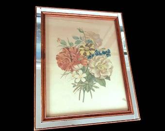 Vintage Framed Floral Print Wood and Mirror Frame Donald Art Co. Framed Botanical Wall Art Print DAC Prints Flower Lithographs Spring Decor