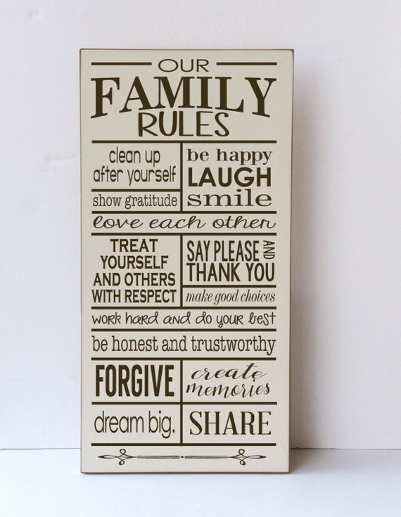 Top Family Rules Rules of the Family Our Family Rules Wood XL08