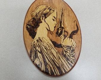 Stephen King's Dark Tower inspired Susan Delgado wood burned wall art.