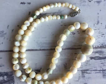 Vintage Mother of Pearl Beaded Necklace - Victorian Antique Graduated Sterling Clasp