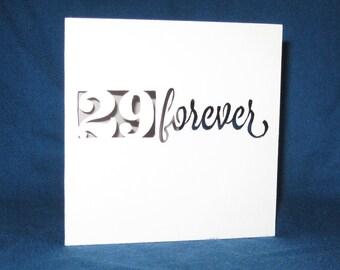 Custom Birthday Forever Card, Hand Cut Card