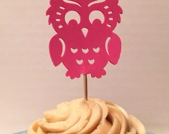12 Owl Cupcake Toppers Baby Cupcake Toppers Baby Shower Cupcake Toppers Birthday Cupcake Toppers Wedding Shower Cupcake Toppers Party Picks