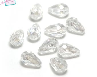"beads 10/30 ""large Teardrop faceted"" Crystal 15 x 10 mm, transparent white"