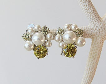 Art Deco Blossoms Cubic Zirconia Pearl Earrings Cocktail Earrings Best Gift For Her