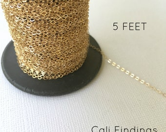 14K Gold Fill Chain - 5 FEET - Flat Cable Chain 1.3mm Wholesale, Bulk, Findings, Supplies, Gold, Gold Chain, Gold Fill Chain, Chains [4001]