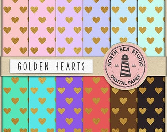 HEART OF GOLD, Digital Paper, Golden Heart Pattern, Love Paper, Valentine's Day Hearts, Coupon Code - BUY5FOR8
