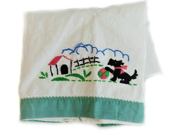 Vintage, tea towel, kitchenalia, vintage scottish terrier, scottie dog, scotty dog, scottish terrier, dog mom, dog lover, teal, vintage