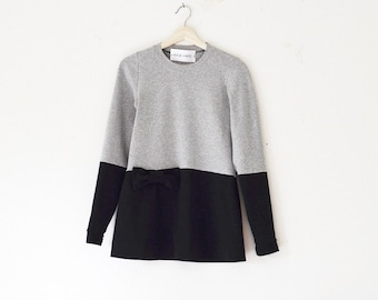 Long Sleeve Two Tone Cotton T-Shirt w/ bow/ casual top/ Favorite T
