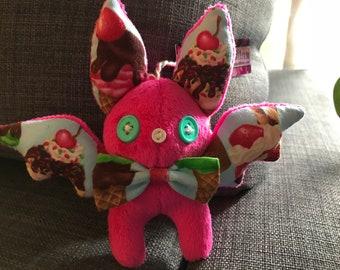 Mini Plush Bat - Pink Ice Cream Cones