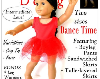 Pixie Faire Karen Lorraine Design Dance Time Doll Clothes Pattern for 18 Inch Dolls Such As American Girl - PDF