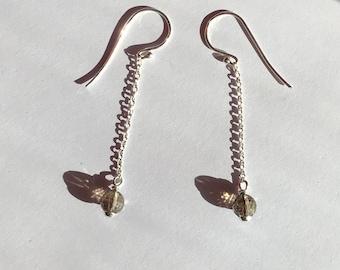 Brown Crystal Faceted Bead Sterling Silver Earrings