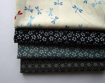 Set of 4 coupons 45 x 35 cm Japanese fabric - dragonflies - Navy and white