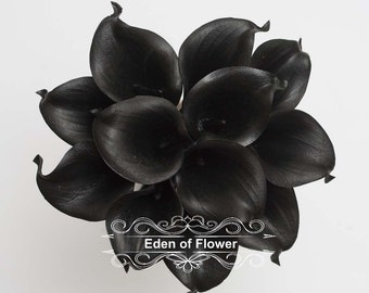 Black Calla Lilies Real Touch Calla Lily Bouqet For Bridal Bouquets,  Wedding Centerpieces, Home