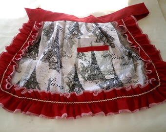 Girl Apron with Paris scene and red ruffles