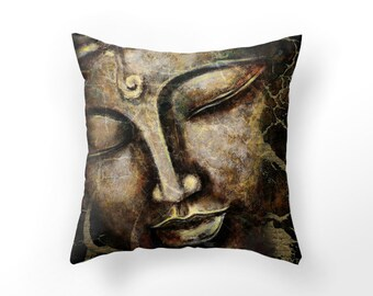 DECORATIVE THROW PILLOW cover, brown buddha cushion cover, yoga pillow cover, unique home decor,  rustic zen pillow case