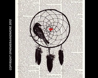 DREAMCATCHER with Crow Feather illustration art print on upcycled vintage dictionary book page, black white red, heart love wall decor 8x10