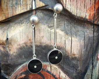 Vintage Mexican Jewelry Sterling Silver Earrings with Onyx, Dangle Earrings, Taxco Silver