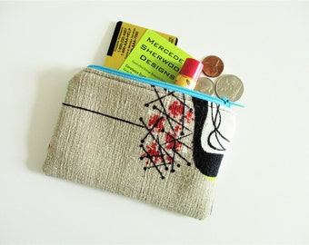 Vintage Barkcloth Coin Purse Zippered Purse Gift for Her Abstract Graduation Gift Woman Gift Mid Century Friend Gift Business Card Holder